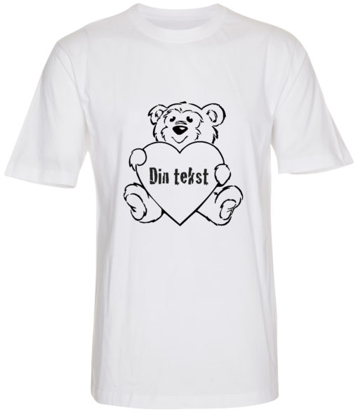 boerne t-shirt din tekst i bamse hvid