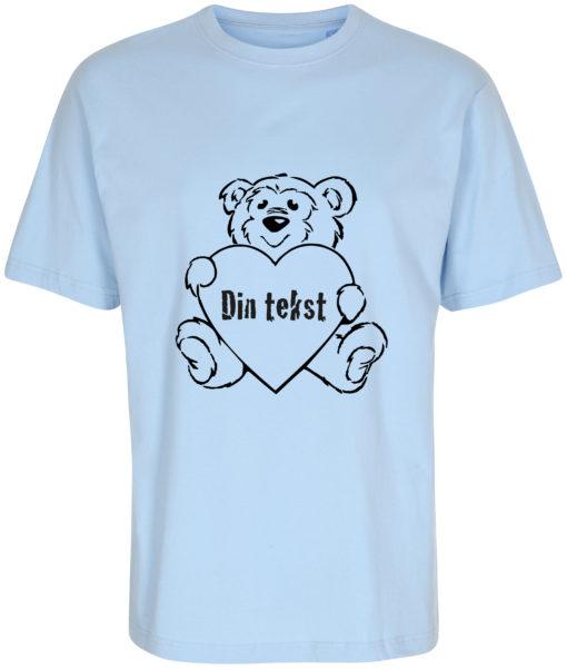 boerne t-shirt din tekst i bamse lyseblaa