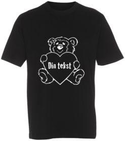 boerne t-shirt din tekst i bamse sort