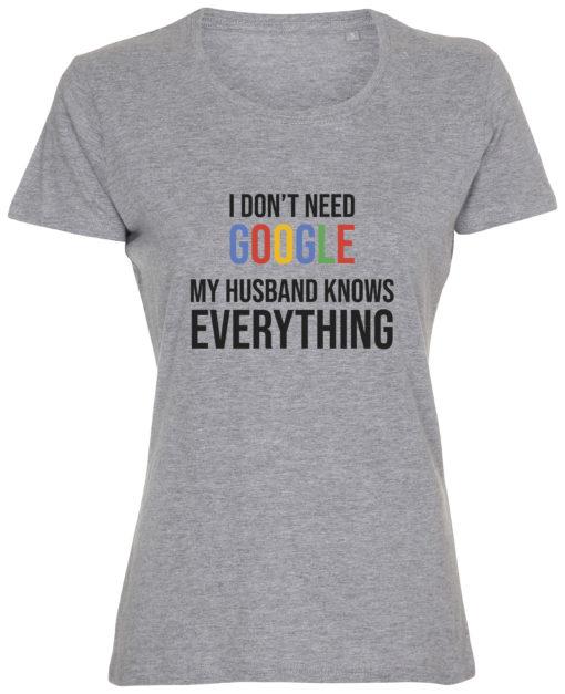 dame t-shirt i dont need google graa