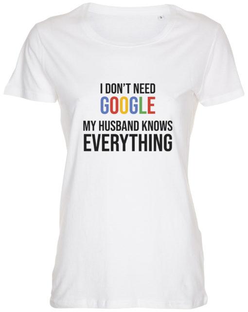 dame t-shirt i dont need google hvid