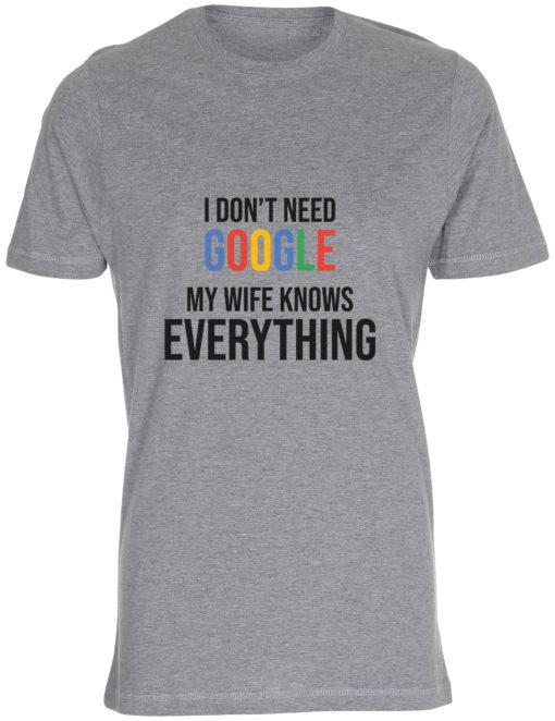 herre t-shirt i dont need google graa