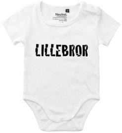 oekologisk baby bodystocking lillebror hvid