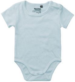 oekologisk baby bodystocking uden tryk blaa