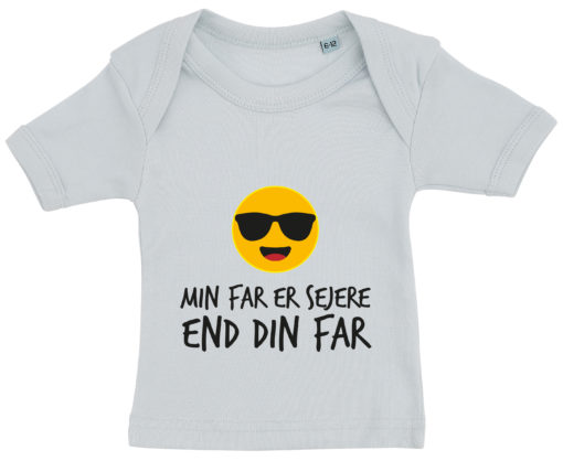 baby t-shirt min far er sejere end din far blaa