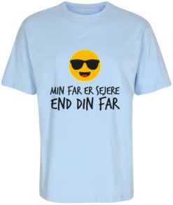 boerne t-shirt min far er sejere end din far blaa