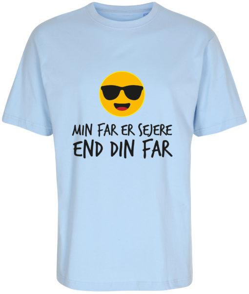 boerne t-shirt min far er sejere end din far blaa