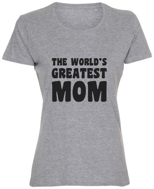 dame t-shirt mors dag the greatest mom graa