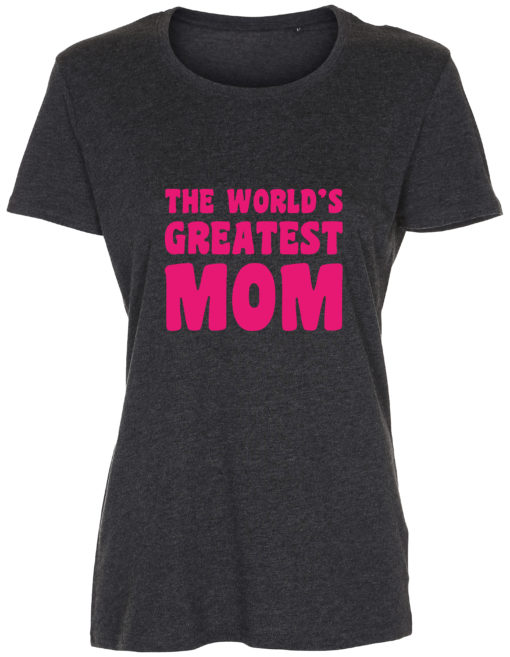 dame t-shirt mors dag the worlds greatest mom antracit pink tryk