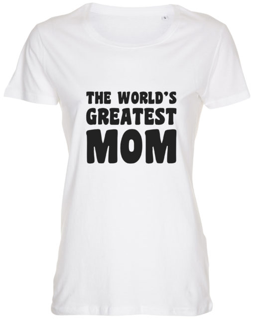 dame t-shirt mors dag the worlds greatest mom hvid