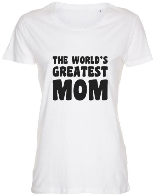 dame t-shirt mors dag the worlds greatest mom hvid