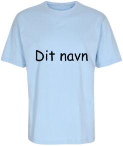 boerne t-shirt med dit navn comic sans lyseblaa