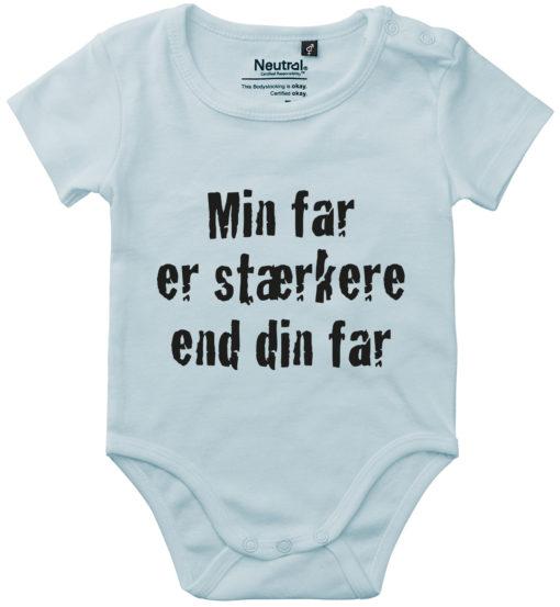 oekologisk baby bodystocking min far er staerkere end din far blaa