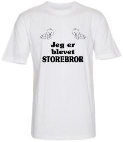 boerne t-shirt jeg er blevet storebror hvid