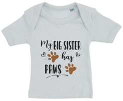 baby t-shirt my big sister has paws blaa