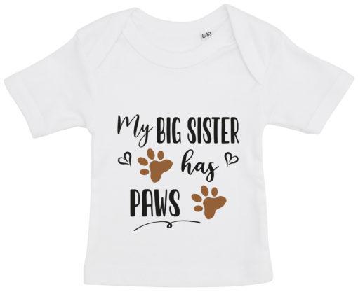baby t-shirt my big sister has paws hvid