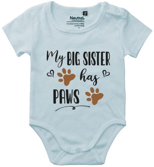 oekologisk baby bodystocking my big sister has paws blaa