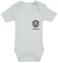 baby bodystocking fodboldtrøje med dit navn blaa