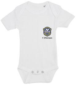 baby bodystocking fodboldtrøje med dit navn hvid