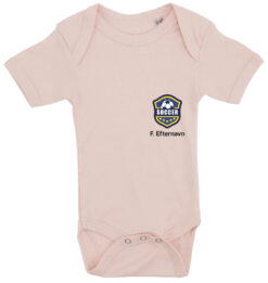 baby bodystocking fodboldtrøje med dit navn lyseroed