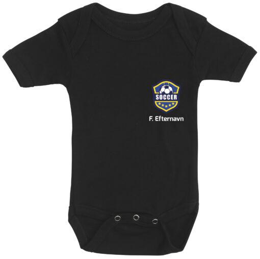 baby bodystocking fodboldtrøje med dit navn sort
