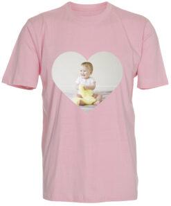 boerne t-shirt med dit billede hjerte lyseroed