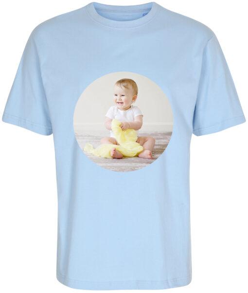 boerne t-shirt med dit billede rund blaa