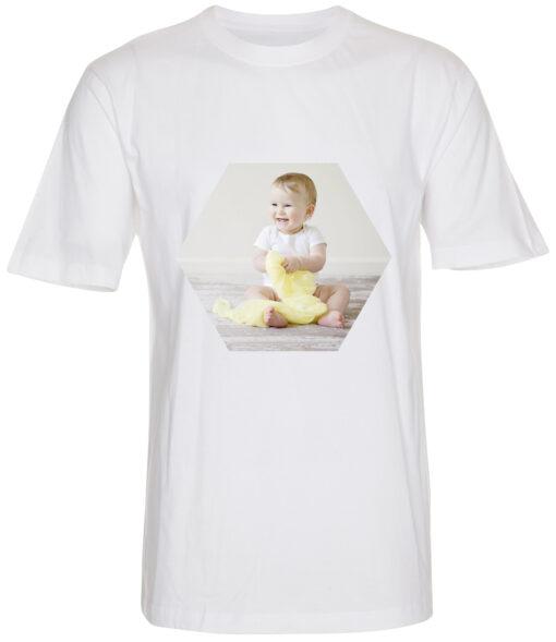 boerne t-shirt med dit billede sekskant hvid