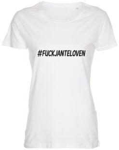 dame t-shirt fuck janteloven hvid