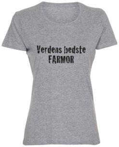 dame t-shirt verdens bedste farmor graa
