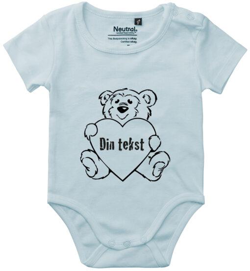 oekologisk baby bodystocking din tekst i bamse blaa