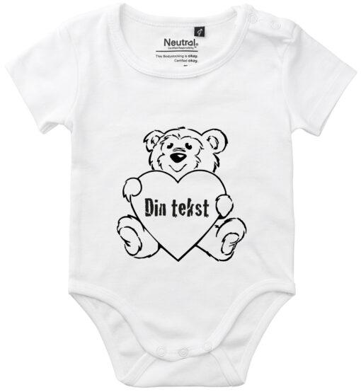 oekologisk baby bodystocking din tekst i bamse hvid