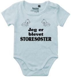 oekologisk baby bodystocking jeg er blevet storesøster blaa