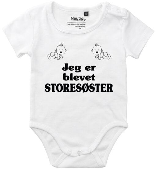 oekologisk baby bodystocking jeg er blevet storesøster hvid