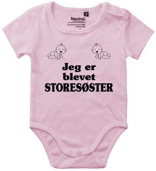 oekologisk baby bodystocking jeg er blevet storesøster pink