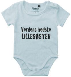 oekologisk baby bodystocking verdens bedste lillesoester blaa