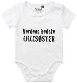oekologisk baby bodystocking verdens bedste lillesoester hvid