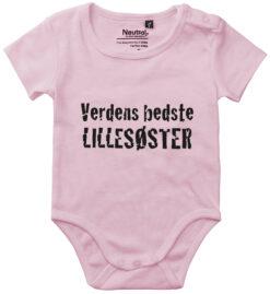 oekologisk baby bodystocking verdens bedste lillesoester pink