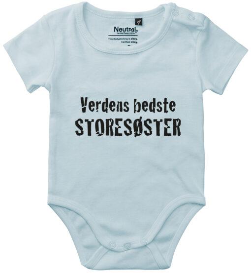oekologisk baby bodystocking verdens bedste storesoester blaa