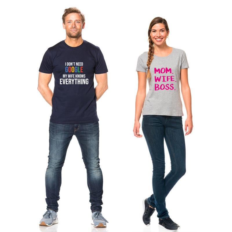 Toej med tryk til voksne kvinde og mand med t-shirts