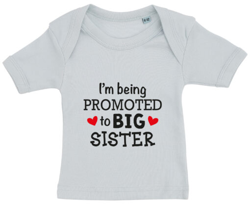 baby t-shirt i'm being promoted to big sister blaa