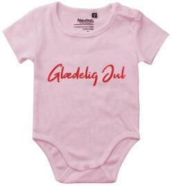 oekologisk baby bodystocking glaedelig jul pink