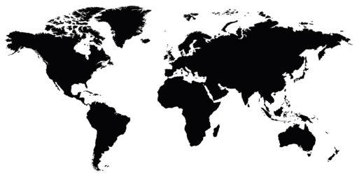 Wallsticker verdenskort sort