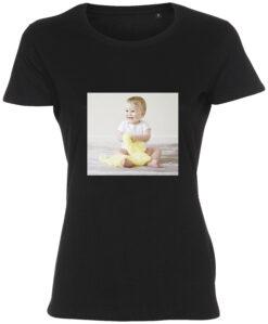 dame t-shirt med dit billede firkant sort