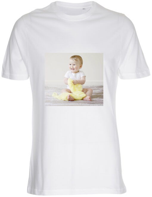 herre t-shirt med dit billede firkant hvid
