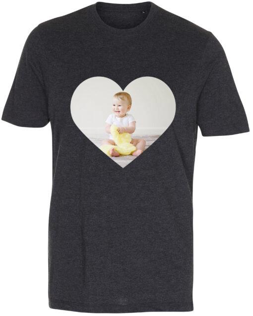 herre t-shirt med dit billede hjerte antracit