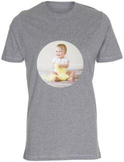 herre t-shirt med dit billede rund graa