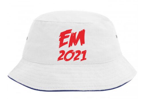 Bøllehat hvid med rød tekst EM2021