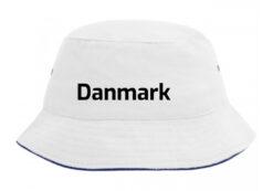 Bøllehat hvid med sort tekst Danmark EM 2021