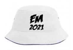 Bøllehat hvid med sort tekst EM2021